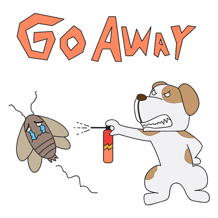 expel: vector cartoon character dog drive out cockroach Illustration