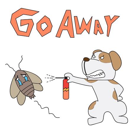 vettore cane personaggio dei cartoni animati scacciare scarafaggio