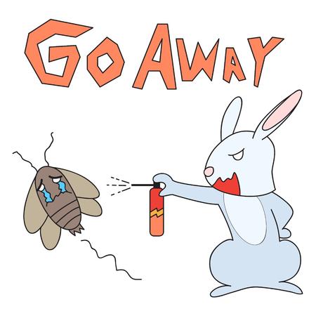 bugs bunny: vector cartoon character rabbit drive out cockroach