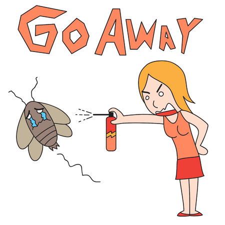 expel: vector cartoon character woman drive out cockroach Illustration