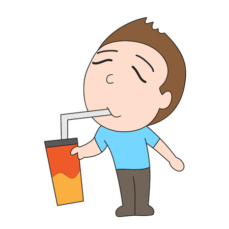 suck: vector cartoon character man cold drink Illustration