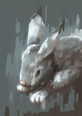 wild animal: illustration digital painting animal wild rabbit Stock Photo
