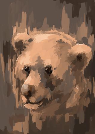 digital painting: illustration digital painting animal bear