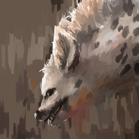 illustration digital painting animal hyena
