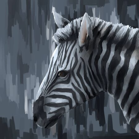digital painting: illustration digital painting animal zebra Stock Photo