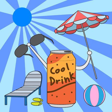 drink can: vector cartoon character drink can