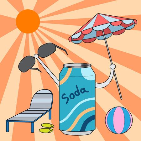 soda can: vector cartoon character soda can