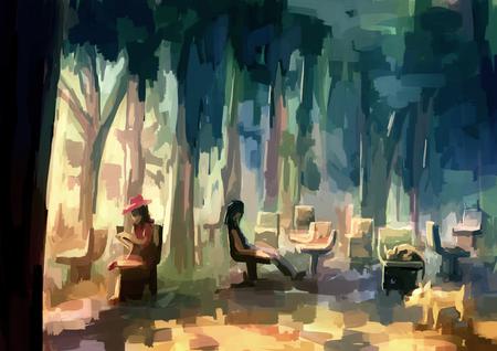 digital painting: illustration digital painting public park