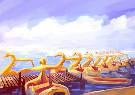 digital painting: illustration digital painting swan boat Stock Photo