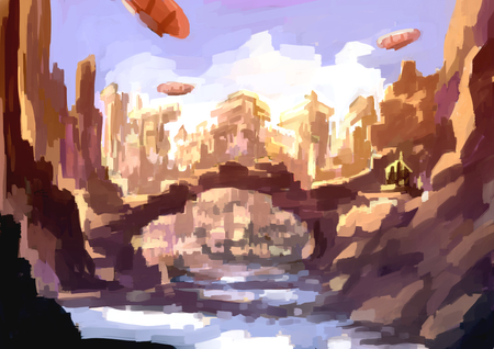 digital painting: illustration digital painting mountain city