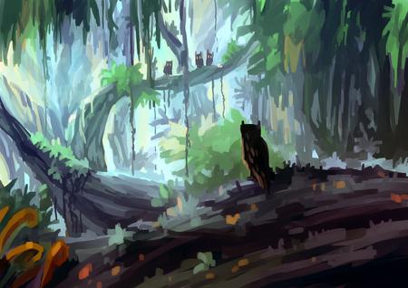 owl illustration: illustration digital painting jungle owl
