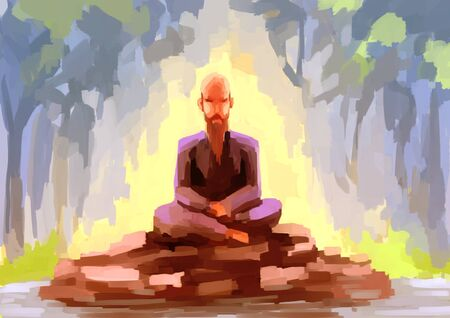 hermit: illustration digital painting hermit Stock Photo