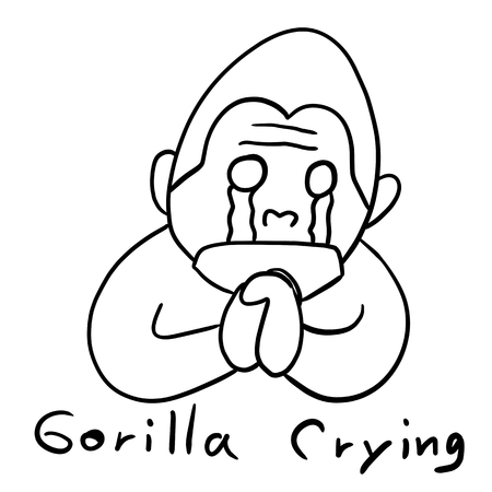 cry: drawing line art gorilla cry