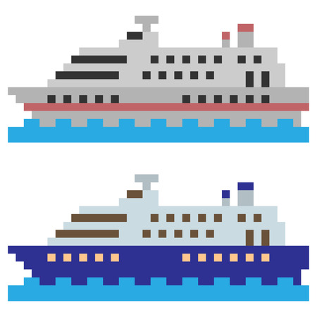 cruiser: pixel art ship Stock Photo