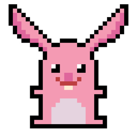 illustration design pixel art rabbit