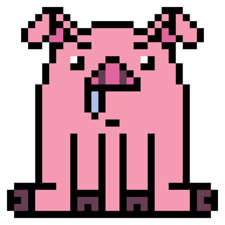 drool: illustration design pixel art pig Stock Photo