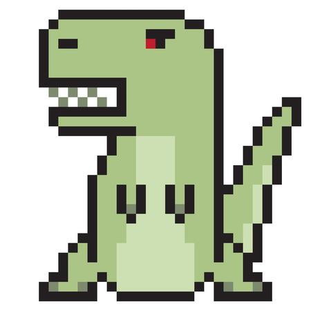 illustration design pixel art tyranosaurus Stock Photo