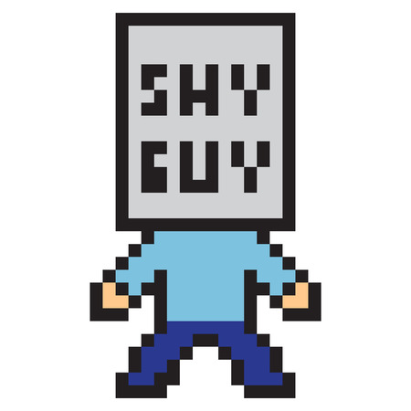 shy: illustration design pixel art shy guy Stock Photo