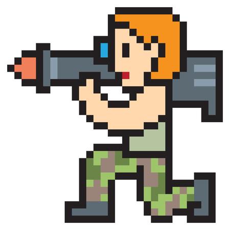 dangerous man: illustration design pixel art rocket luncher