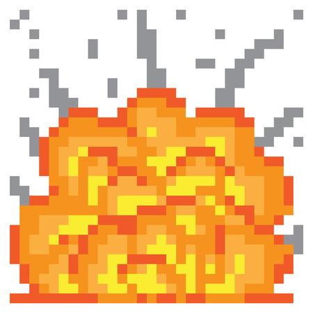illustration design pixel art explosion