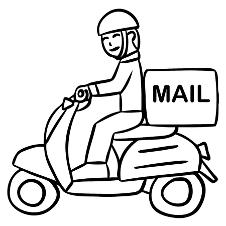 side order: cartoon word delivery motorcycle