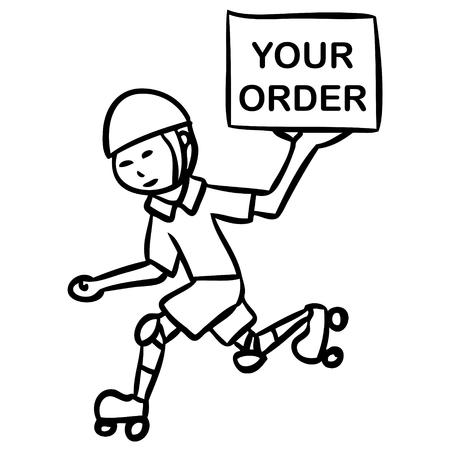 side order: cartoon word delivery boy Illustration