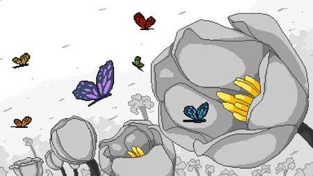 pixel art flower garden