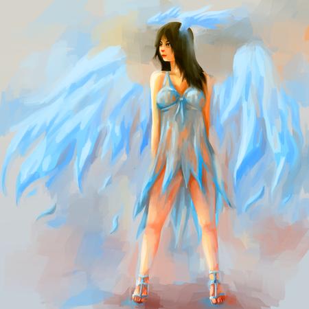 woman painting angel