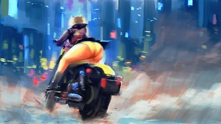 vrouw motorfiets sexy schilderij