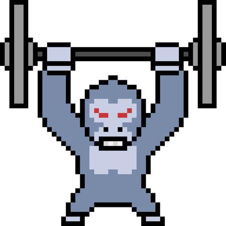 Vector pixel art weight gorilla Illustration