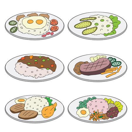 vector cartoon set lunch