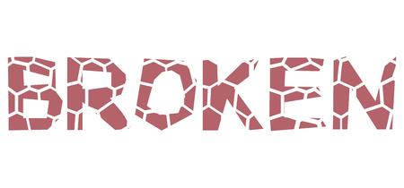 vector isolated typeface design broken Ilustrace