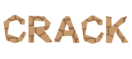 vector isolated typeface design crack Ilustrace