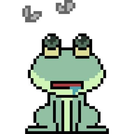 Vector pixel art frog isolated Ilustração
