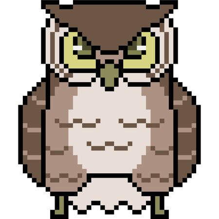 Vector pixel art owl isolated Ilustração