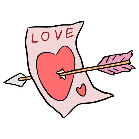 Vector cartoon arrow target love isolated