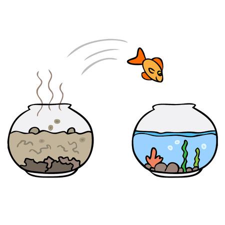 Vector cartoon fish jump isolated