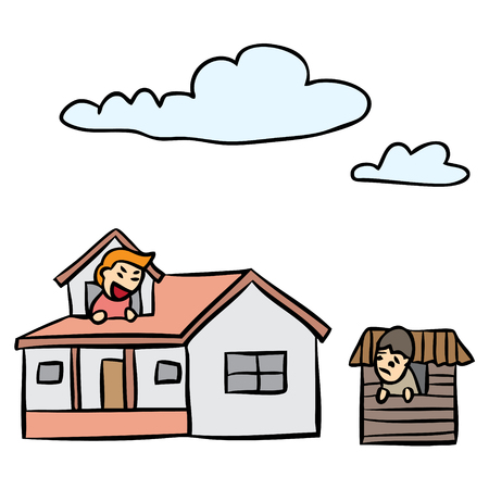 벡터 만화 집은 가난한 가난한 사람을 비교 일러스트