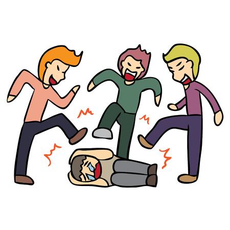 벡터 만화 고등학교 깡패 문제 일러스트