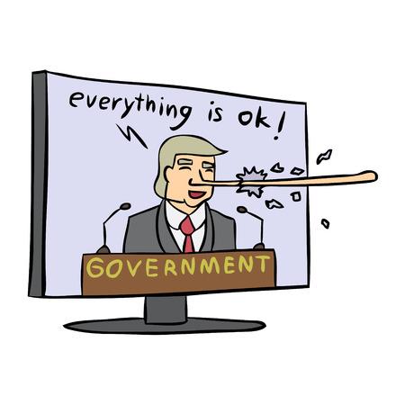 Vector cartoon government lie tv