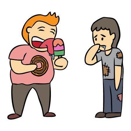 Vector de dibujos animados hambriento celoso de alimentos