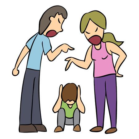 argue kid: Vector cartoon family issue problem