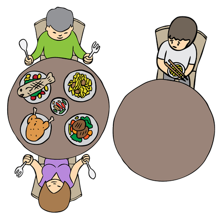 Vector cartoon lonely dinner poor