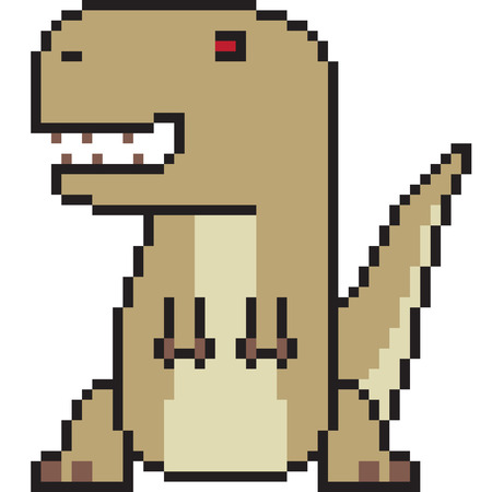 vector pixel art cartoon tyranosaurus isolated Illustration