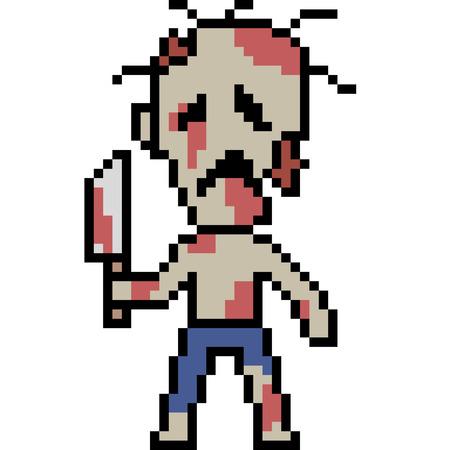 vector pixel art zombie isolated 向量圖像
