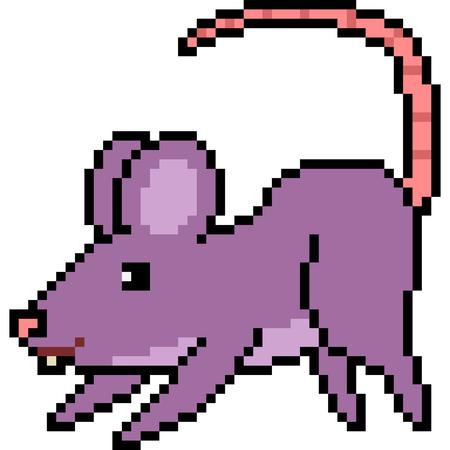 vector pixel art rat mischievous isolated Illustration