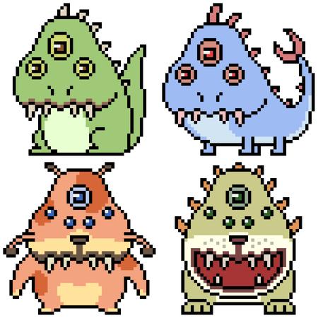 vector pixel art set monster isolated