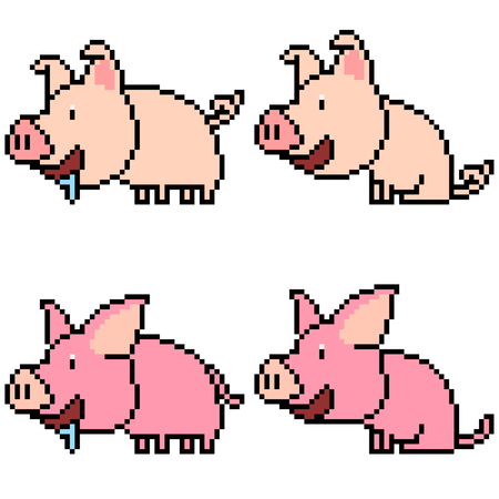 vector pixel art set pig isolated