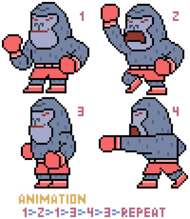 vector pixel art gorilla animation frame isolated Illustration