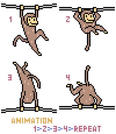 vector pixel art monkey animation frame isolated Illustration